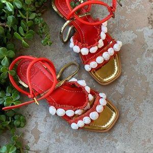 Tory Burch Sinclair Seashell Square Toe Sandals